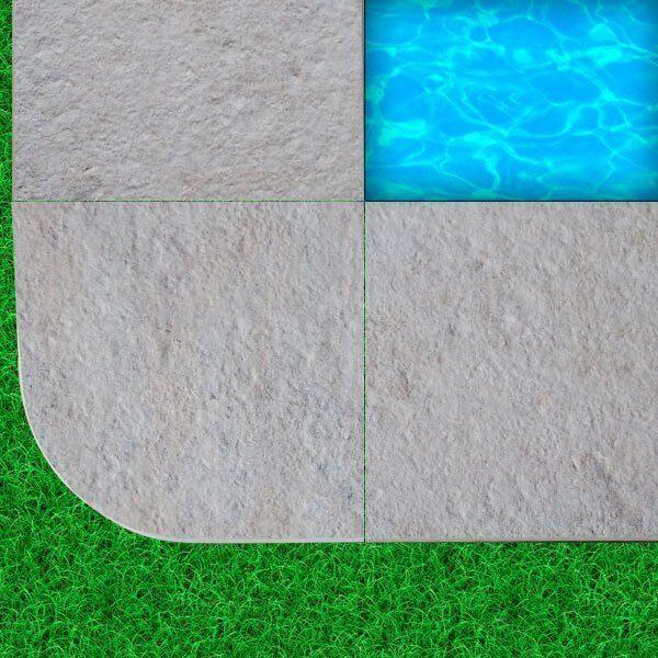 Peldaño piscina esquina. Borde piscina cerámico