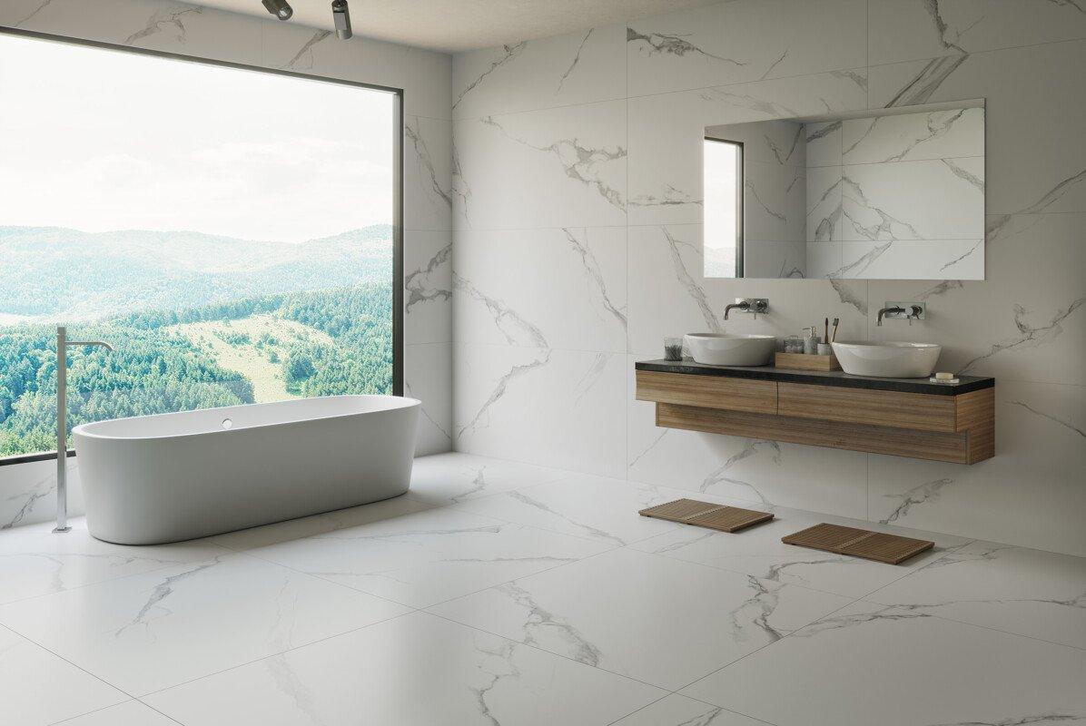 Baño Porcelánico Rectificado Imitación Mármol 120x120 y 60x120 PUN-120120