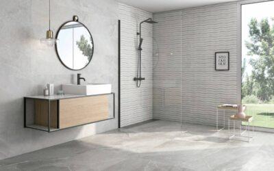 Baños en tonos grises imitación piedra