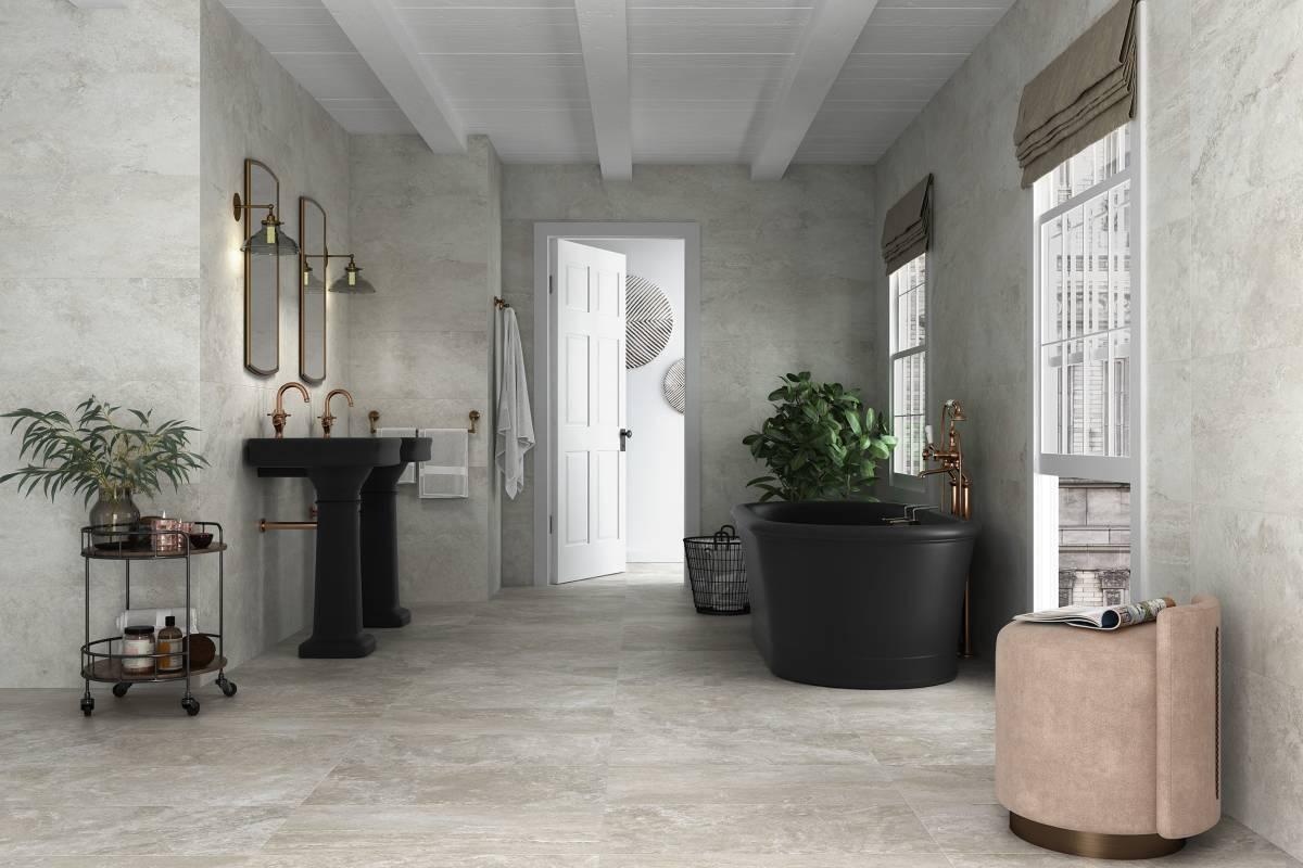 Baño gres porcelánico gris imitación piedra