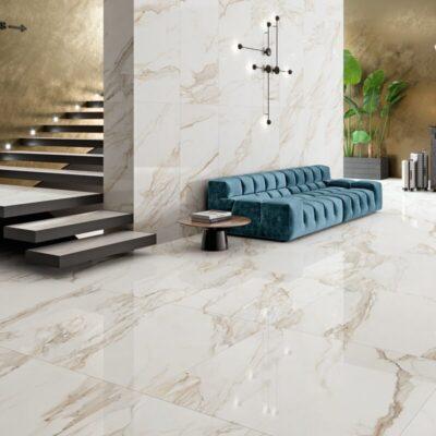 Recepción decorado con con Porcelánico Pulido Rectificado 60x120 GOLD-60120P